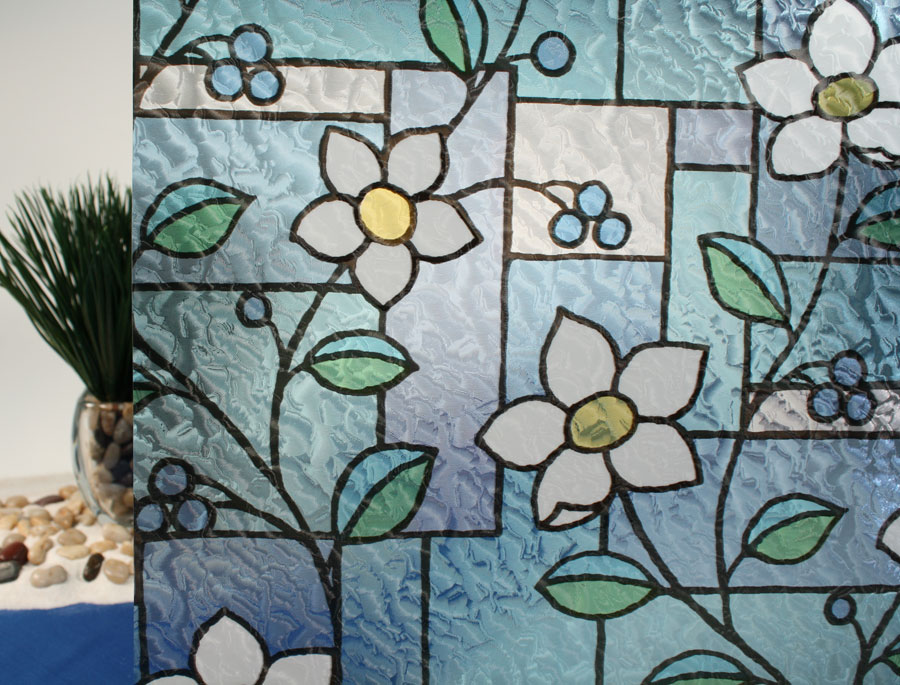 stained glass flowers r087031 decorative window film. Black Bedroom Furniture Sets. Home Design Ideas