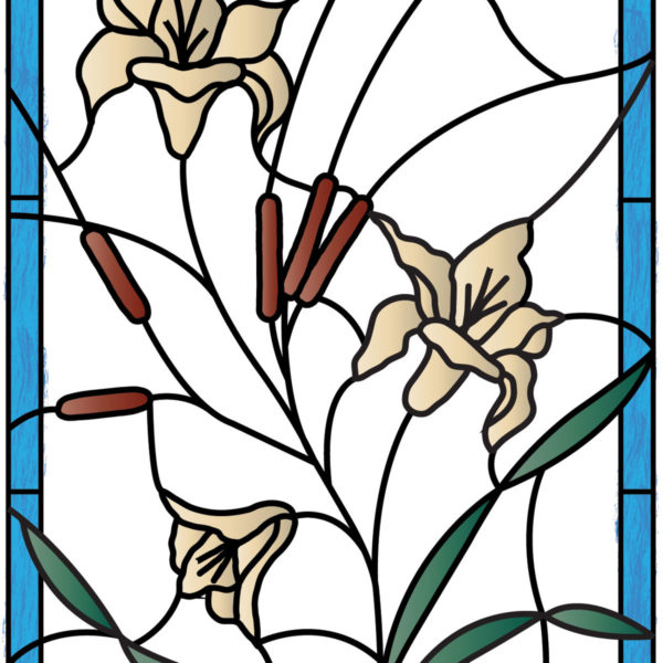 Stained Glass Flowers & CattailsPV09001