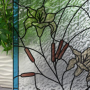 Stained Glass Flowers & CattailsonRippled
