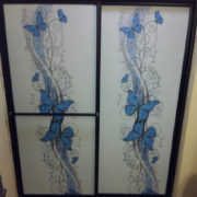 Blue Butterfly Shower Door