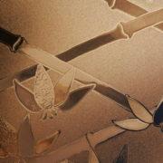 Burnt Orange Cut Glass Bamboo