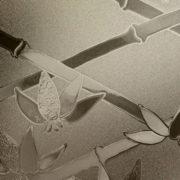 Chocolate Brown Cut Glass Bamboo