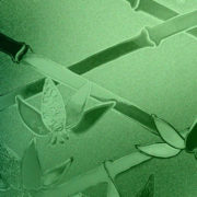 Green Cut Glass Bamboo