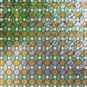 PV09028 Leaded Glass Sea Green And Amber