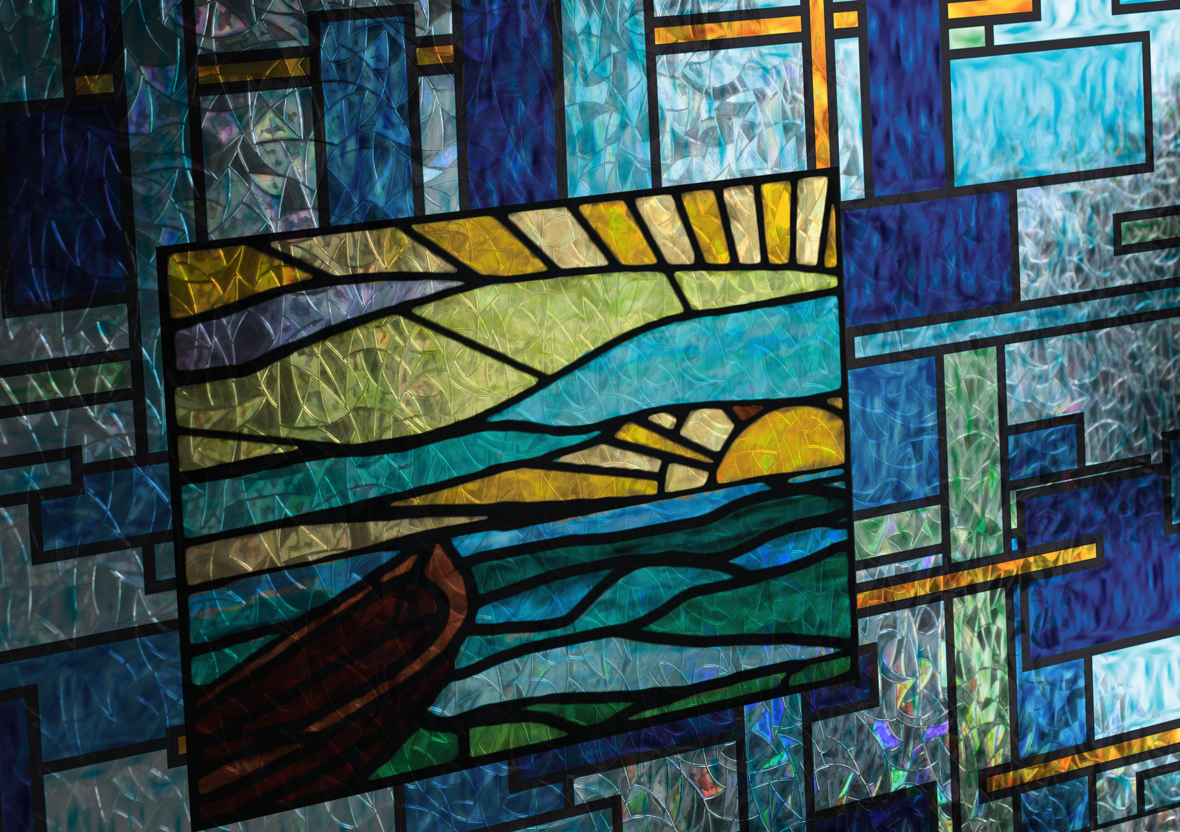 Coastal Scenes Stained Glass Decorative Window Film